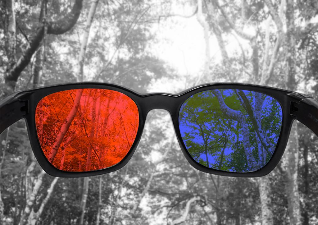 Red and blue glasses